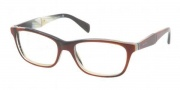 Prada PR 14PV Eyeglasses Eyeglasses - EAP101 Striped Brown Horn / Demo Lens