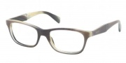Prada PR 14PV Eyeglasses Eyeglasses - EAQ101 Striped Grey Horn / Demo Lens