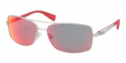 Prada Sport PS 50OS Sunglasses Sunglasses - 1AP6Y1 Silver Demi Shiny / Red Multilayer