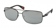 Prada Sport PS 50OS Sunglasses Sunglasses - 1B07W1 Black Demi Shiny / Gray Silver Mirror