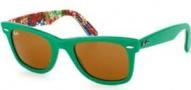Ray Ban 2140 Sunglasses Original Wayfarer RB2140 Sunglasses - 1140 Top Green on Texture / Crystal Brown Lens