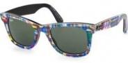 Ray Ban 2140 Sunglasses Original Wayfarer RB2140 Sunglasses - 1135 Top Texture Plaid on Black / Green Lens