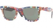 Ray Ban 2140 Sunglasses Original Wayfarer RB2140 Sunglasses - 1137 Top Texture on Black / Green Lens