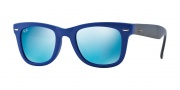Ray-Ban RB4105 Sunglasses Folding Wayfarer Sunglasses - 602017 Matte Blue / Crystal Blue Mirror