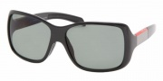 Prada PS 08HS Sunglasses - 1AB5Z1 Black+Black Rubber/Polarized Gray