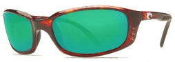 Costa Del Mar Brine Sunglasses Shiny Tortoise Frame Sunglasses - Green Mirror Glass/COSTA 400