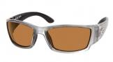 Costa Del Mar Corbina Sunglasses Silver Frame Sunglasses - Amber / 580P