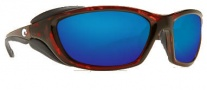 Costa Del Mar Mano War Sunglasses -  Tortoise Frame Sunglasses - Blue Mirror / 400G