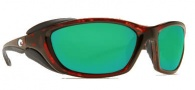 Costa Del Mar Mano War Sunglasses -  Tortoise Frame Sunglasses - Green Mirror / 400G