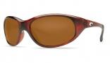Costa Del Mar Wave Killer Sunglasses Shiny Tortoise Frame Sunglasses - Gray Glass/COSTA 580