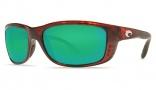 Costa Del Mar Zane Sunglasses - Shiny Tortoise Frame Sunglasses - Green Mirror Glass/COSTA 400
