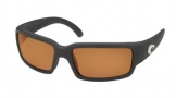 Costa Del Mar Caballito Sunglasses Shiny Black Frame Sunglasses - Amber / 580P