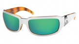 Costa Del Mar Cin - White Tortoise Frame Sunglasses - Green Mirror Glass/COSTA 400