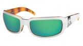 Costa Del Mar Cin - White Tortoise Frame Sunglasses - Green Mirror Glass/COSTA 400
