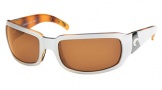 Costa Del Mar Cin - White Tortoise Frame Sunglasses - Amber Glass/COSTA 400