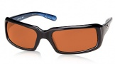 Costa Del Mar Switchfoot Sunglasses Shiny Black Frame Sunglasses - Amber Glass/COSTA 400