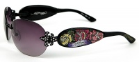 Ed Hardy EHS 014 Three Old School Roses Sunglasses - Black
