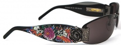 Ed Hardy EHS 020 Skull Butterflies Sunglasses - Black