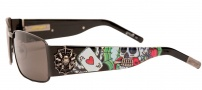Ed Hardy EHS 041 Love Kills Slowly Clock Sunglasses - Gunmetal
