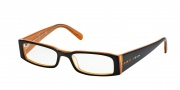 Prada PR 10FV Eyeglasses Eyeglasses - (2BX1O1) Top Black on Orange