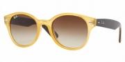 Ray-Ban RB4141 Sunglasses Round Wayfarer Sunglasses - 768/51 Opal Yellow / Crystal Brown Gradient