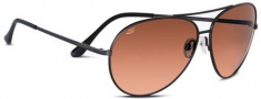 Serengeti Large Aviator Sunglasses Sunglasses - 5222 Matte Black / Drivers Gradient