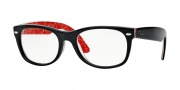 Ray-Ban RX 5184 New Wayfarer Eyeglasses Eyeglasses - 2479 Top Black on Texture Red