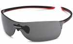 Tag Heuer Squadra 5505 Sunglasses Sunglasses - 104 Black-Red Temples / Dark Lug / Grey Lenses