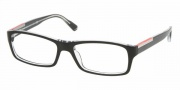 Prada PS 11AV Eyeglasses Eyeglasses - 2AF1O1 TOP BLACK/CRYSTAL DEMO LENS
