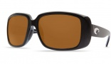 Costa Del Mar Little Harbor Sunglasses - Black Frame Sunglasses - Green Mirror Glass / Costa 400