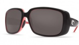 Costa Del Mar Little Harbor Sunglasses Black/Coral Frame Sunglasses - Blue Mirror Glass / Costa 580