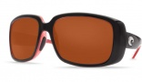 Costa Del Mar Little Harbor Sunglasses Black/Coral Frame Sunglasses - Green Mirror Glass / Costa 580