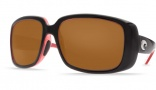 Costa Del Mar Little Harbor Sunglasses Black/Coral Frame Sunglasses - Green Mirror Glass / Costa 400
