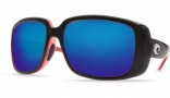 Costa Del Mar Little Harbor Sunglasses Black/Coral Frame Sunglasses - Amber Poly. / Costa 580
