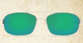 Costa Del Mar Manteo Sunglasses - Palladium Frame Sunglasses - Green Mirror Glass / Costa 400