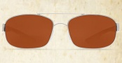Costa Del Mar Manteo Sunglasses - Palladium Frame Sunglasses - Copper Glass / Costa 580