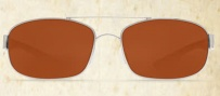 Costa Del Mar Manteo Sunglasses - Palladium Frame Sunglasses - Copper Poly. / Costa 580