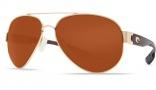 Costa Del Mar South Point Sunglasses - Gold Frame Sunglasses - Copper Glass / Costa 580