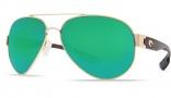 Costa Del Mar South Point Sunglasses - Gold Frame Sunglasses - Green Mirror Glass / Costa 400