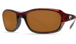 Costa Del Mar Tag Sunglasses - Tortoise Frame Sunglasses - Amber Glass / Costa 400