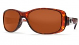 Costa Del Mar Tippet Sunglasses - Tortoise Frame Sunglasses - Silver Mirror Glass / Costa 580
