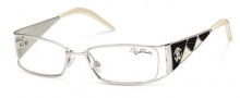 Roberto Cavalli RC0481 Eyeglasses Eyeglasses - 018 - Rhodium- dark brown/cream white stamped lizzard leather insert