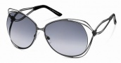 Roberto Cavalli RC527S Sunglasses Sunglasses - 08B - Gunmetal, gold/black zebra effect temple tips, gradient dark grey lenses