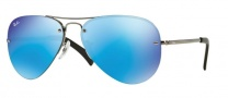 Ray-Ban RB3449 Sunglasses Sunglasses - 004/55 Gunmetal Light Green Mirror Blue