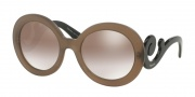 Prada PR 27NS Sunglasses Sunglasses - UBU4O0 Dark Brown Mat Trasp / Gradient Brown Mirror Silver