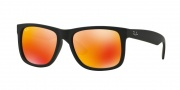 Ray-Ban RB4165 Sunglasses - Justin Sunglasses - 622/6Q Rubber Black / Brown Mirror Orange
