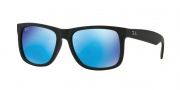 Ray-Ban RB4165 Sunglasses - Justin Sunglasses - 622/55 Black Rubber / Green Mirror Blue