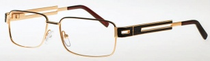 Caviar 4854 Eyeglasses Eyeglasses - (16) Brown / Gold w/ Brown Leather