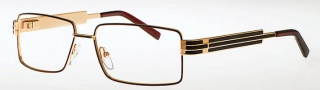 Caviar 4855 Eyeglasses Eyeglasses - (16) Brown /Gold w/ Brown Leather
