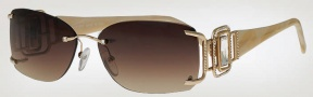 Caviar 6843 Sunglasses Sunglasses - (21) Gold w/ Clear Crystal Stones w/ Brown Lens